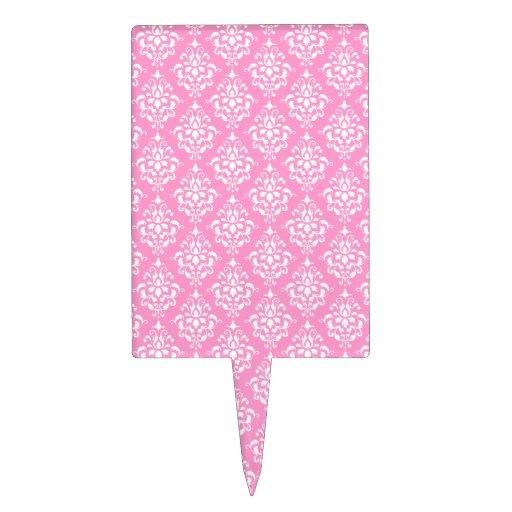 Pink White Vintage Damask Pattern 1 Cake Topper