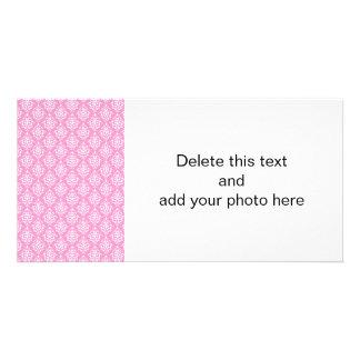 Pink White Vintage Damask Pattern 1 Card