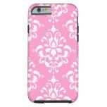 Pink White Vintage Damask Pattern 1 Tough iPhone 6 Case