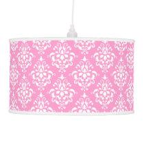Pink White Vintage Damask Pattern 1 Ceiling Lamp