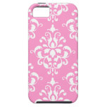 Pink White Vintage Damask Pattern 1 iPhone 5 Cases