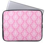 Pink White Vintage Damask Pattern 1 Laptop Computer Sleeves