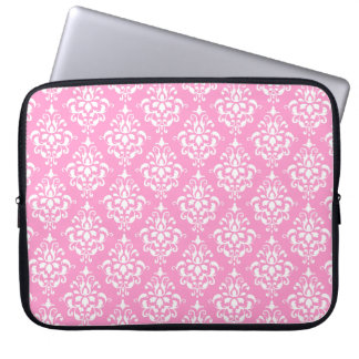 Pink White Vintage Damask Pattern 1 Laptop Sleeve
