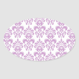 Pink White Vintage Damask Pattern 1 Oval Sticker
