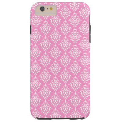 Pink White Vintage Damask Pattern 1Chic, pink and Tough iPhone 6 Plus Case