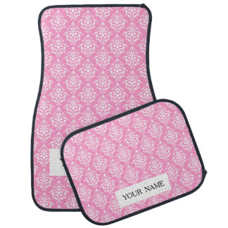 Pink White Vintage Damask Pattern 1Chic, pink and Floor Mat
