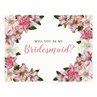 Pink | White Vintage Floral Bridesmaid Request Postcard