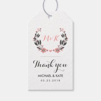 Pink White Vintage Flower Wreath Wedding Gift Tag