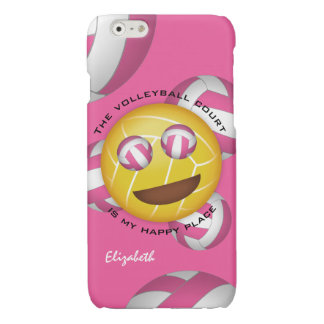 pink white volleyball emoji my happy place glossy iPhone 6 case