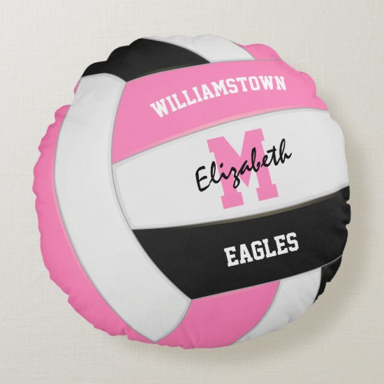 pink white volleyball girls sports room decor round pillow
