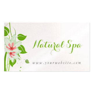 Pink& White Water Color Flowers Natural Spa Double-Sided Standard Business Cards (Pack Of 100)