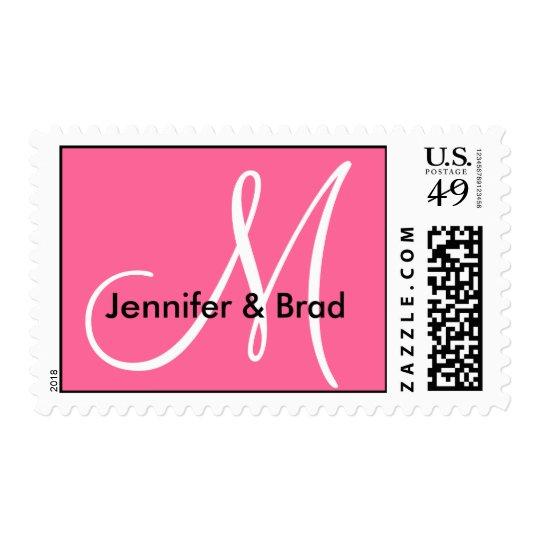Pink White Wedding Names Monogram Postage