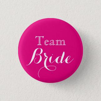 Pink White Wedding Team Bride Button
