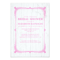 Pink White Western Barn Wood Bridal Shower Invites