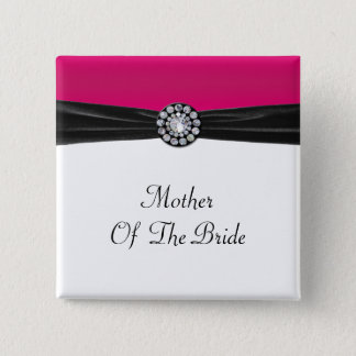 Pink & White With Black Velvet & Diamond Wedding Pinback Button