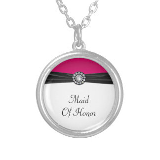 Pink & White With Black Velvet & Diamond Wedding Silver Plated Necklace