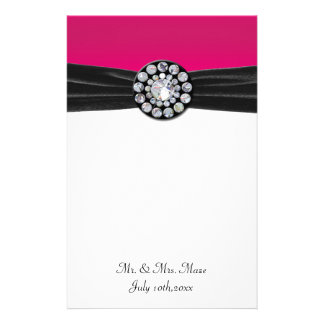 Pink & White With Black Velvet & Diamond Wedding Stationery Design