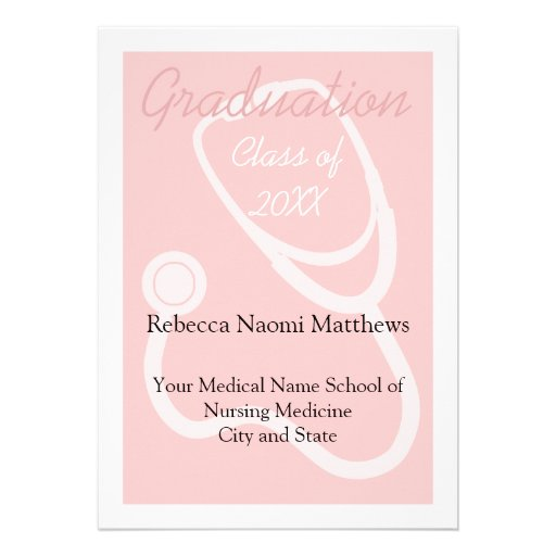 Pink/White Women's Health Graduation Announcement