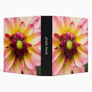 Pink, White & Yellow Dahlia 3 Ring Binder