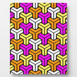 Pink, White, Yellow, Orange Geometric Pattern Plaque
