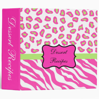 Pink & White Zebra & Cheeta Skin Album 3 Ring Binder