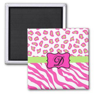 Pink & White Zebra & Cheeta Skin Personalized 2 Inch Square Magnet