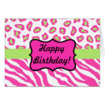 Pink & White Zebra & Cheeta Skin Personalized Greeting Card