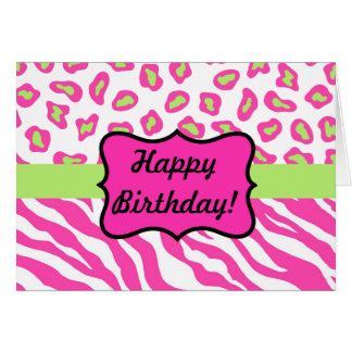 Pink & White Zebra & Cheeta Skin Personalized Card