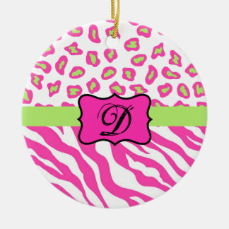 Pink & White Zebra & Cheeta Skin Personalized Ceramic Ornament