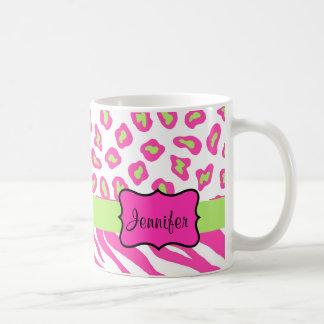 Pink & White Zebra & Cheeta Skin Personalized Coffee Mug