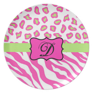 Pink & White Zebra & Cheeta Skin Personalized Dinner Plate