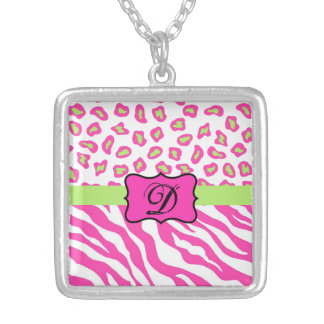Pink & White Zebra & Cheeta Skin Personalized Pendants