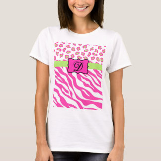 Pink & White Zebra & Cheeta Skin Personalized T-Shirt