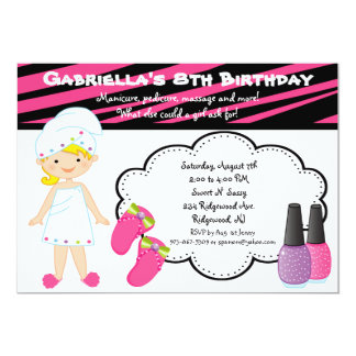 Pink & White Zebra Girls Spa Invite