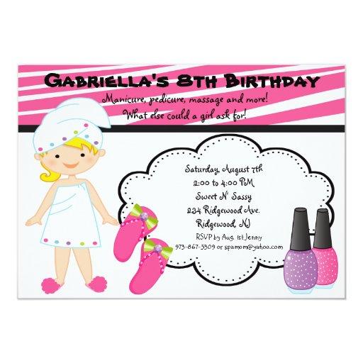 Pink & White Zebra Girls Spa Invite