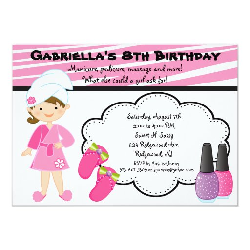 """Pink & White Zebra Girls Spa Invite 5"""" X 7"""" Invitation Card"""