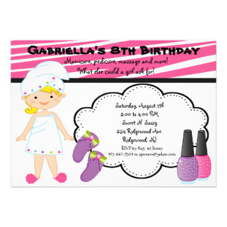 Pink White Zebra Girls Spa Invite