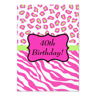Pink White Zebra Leopard 40th Birthday Party Card