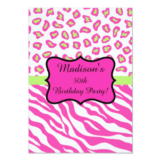 Pink White Zebra Leopard 50th Birthday Party Card