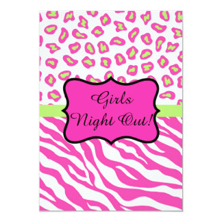 Pink White Zebra Leopard Girls Night Out Invite