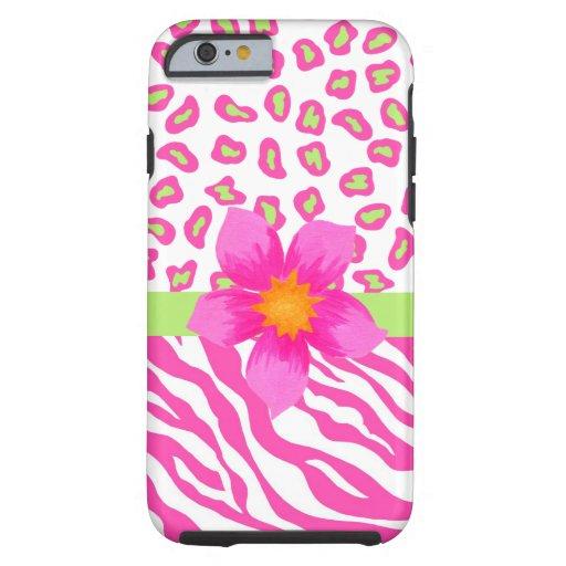 Pink White Zebra Leopard Skin Fuchsia Pink Flower iPhone 6 Case