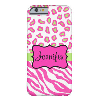 Pink White Zebra Leopard Skin Name Personalized Barely There iPhone 6 Case