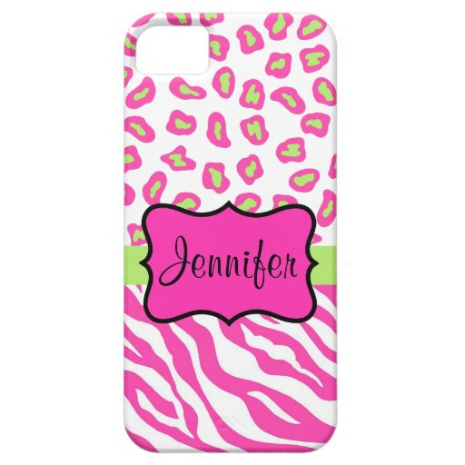 Pink White Zebra Leopard Skin Name Personalized iPhone 5/5S Cases