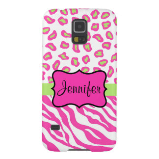 Pink White Zebra Leopard Skin Name Personalized Galaxy S5 Cases