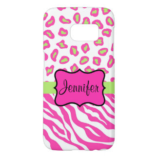 Pink White Zebra Leopard Skin Name Personalized Samsung Galaxy S7 Case