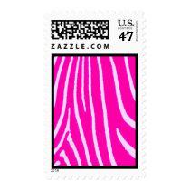 Pink & White Zebra Print Postage