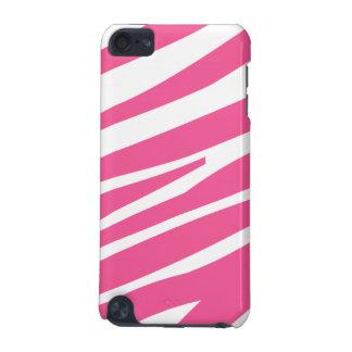 Pink white zebra stripe stylish ipod touch case