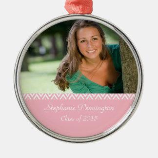 Pink white zig zag graduation photo ornament