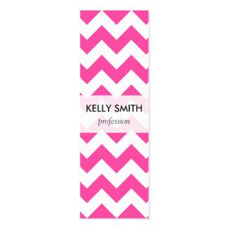 Pink White Zigzag Chevron Pattern Girly Mini Business Card