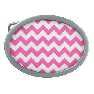 Pink White Zigzag Chevron Pattern Girly Oval Belt Buckle